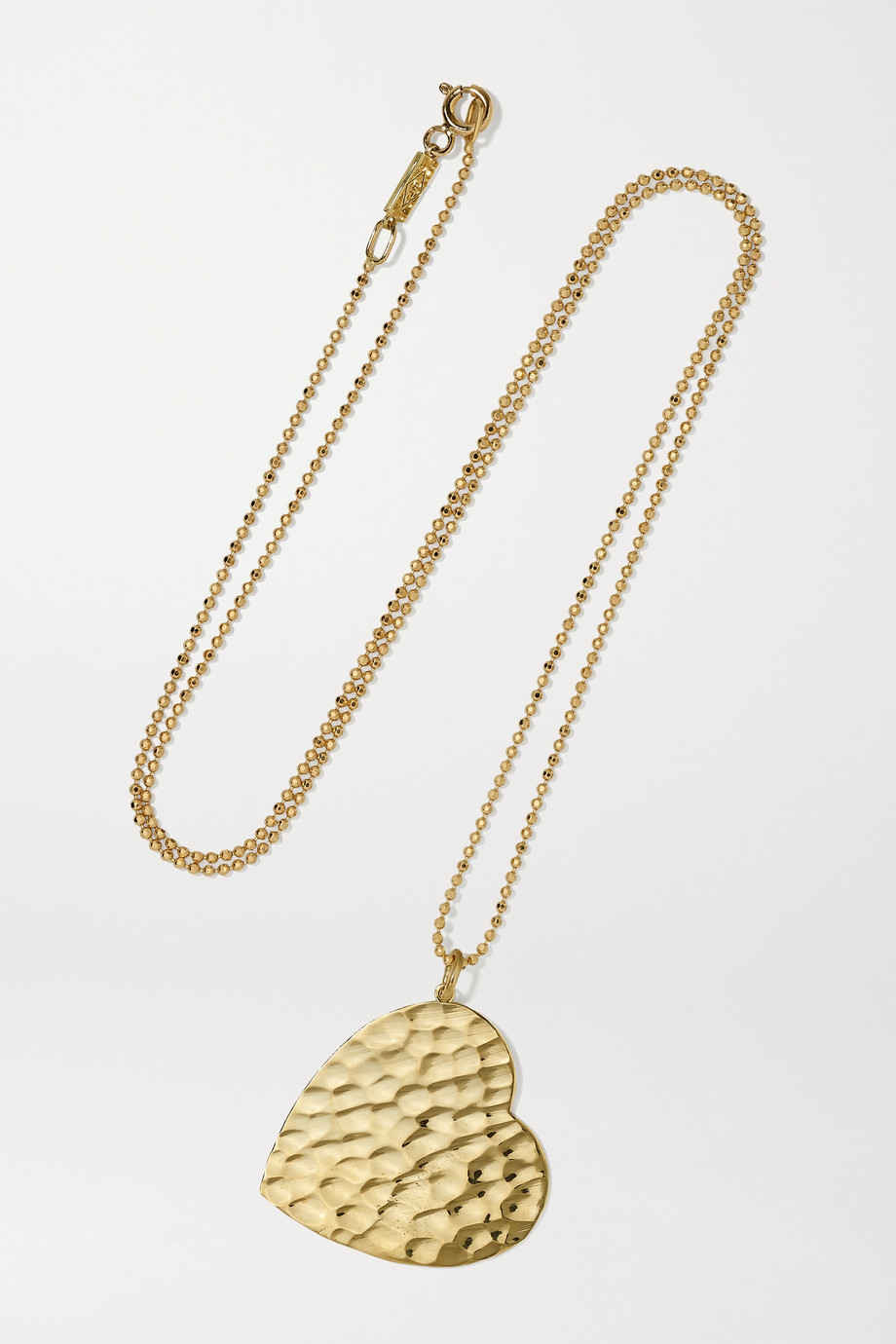 JENNIFER MEYER Large Hammered Heart 18-karat gold necklace