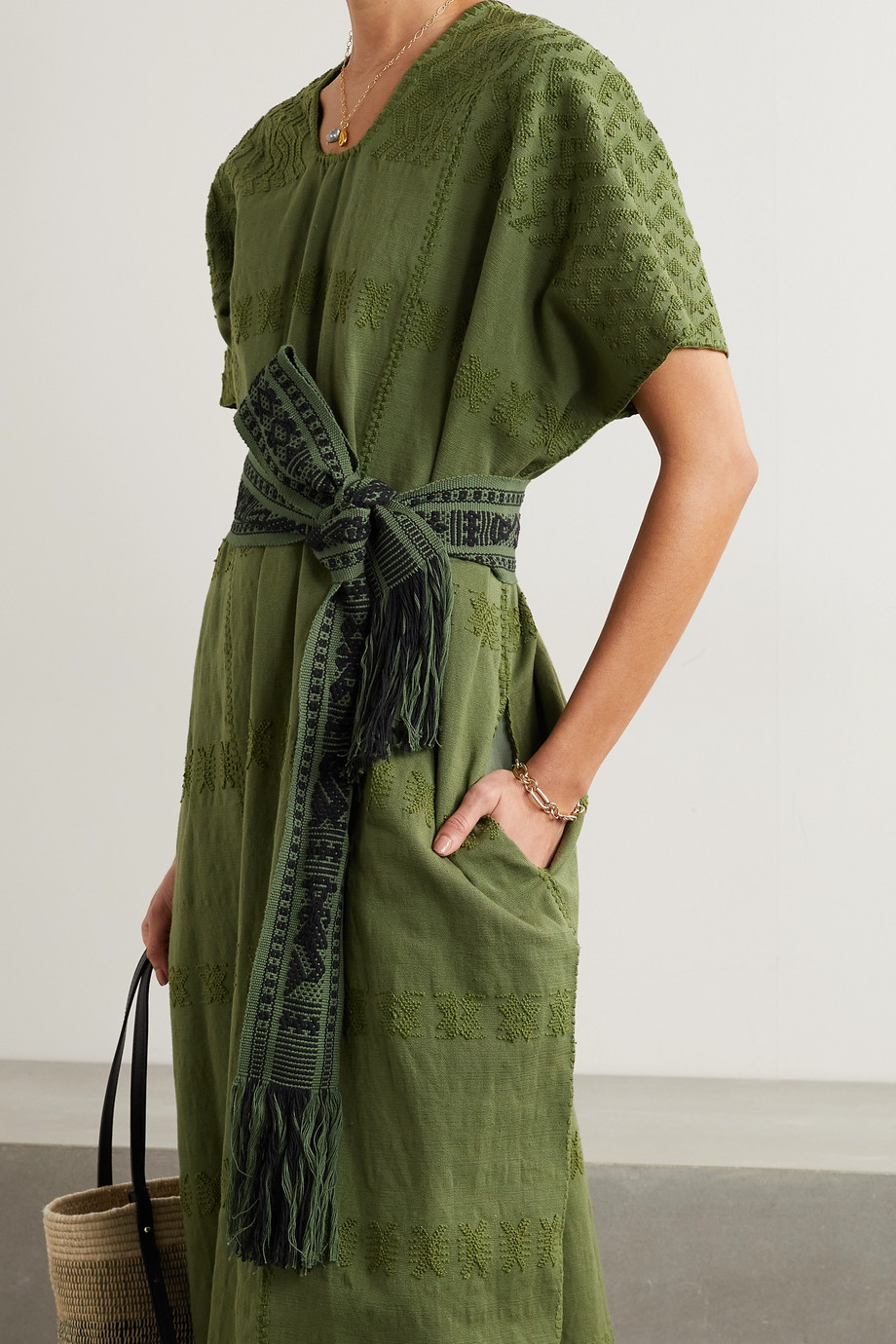 PIPPA HOLT + NET SUSTAIN fringed cotton-jacquard belt