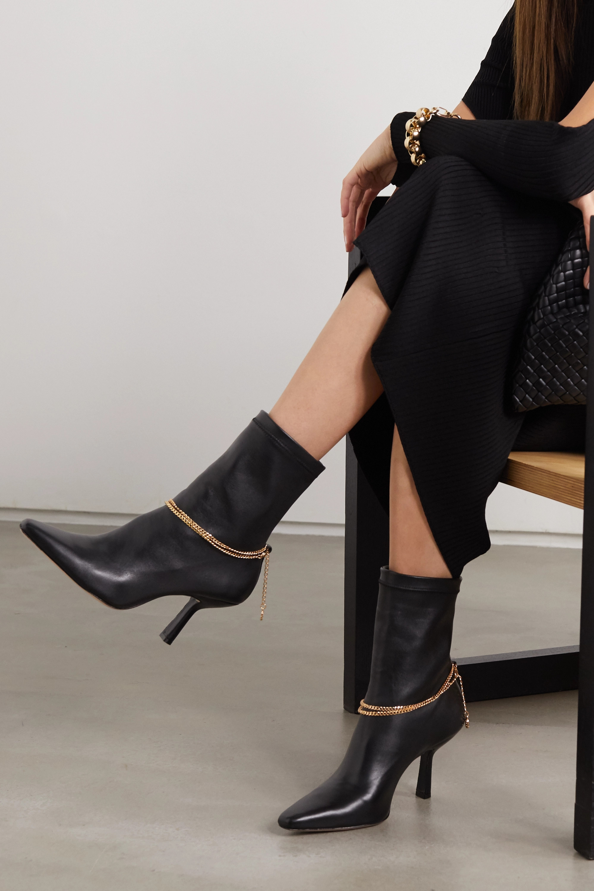 PORTE & PAIRE Chain-embellished leather ankle boots