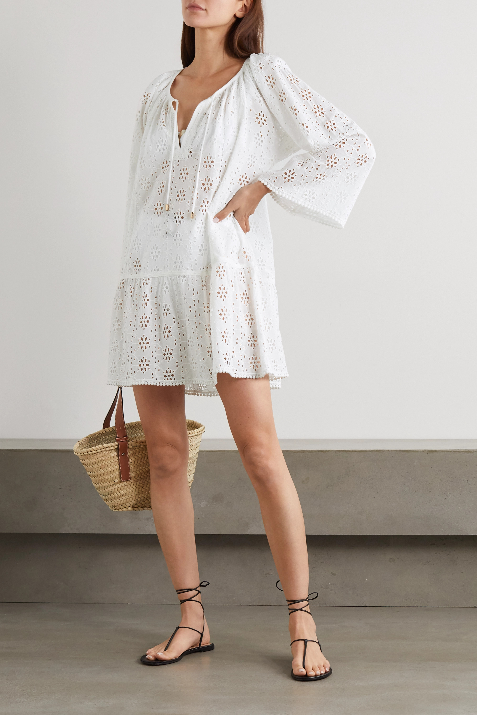MELISSA ODABASH Corina lace-trimmed broderie anglaise cotton kaftan