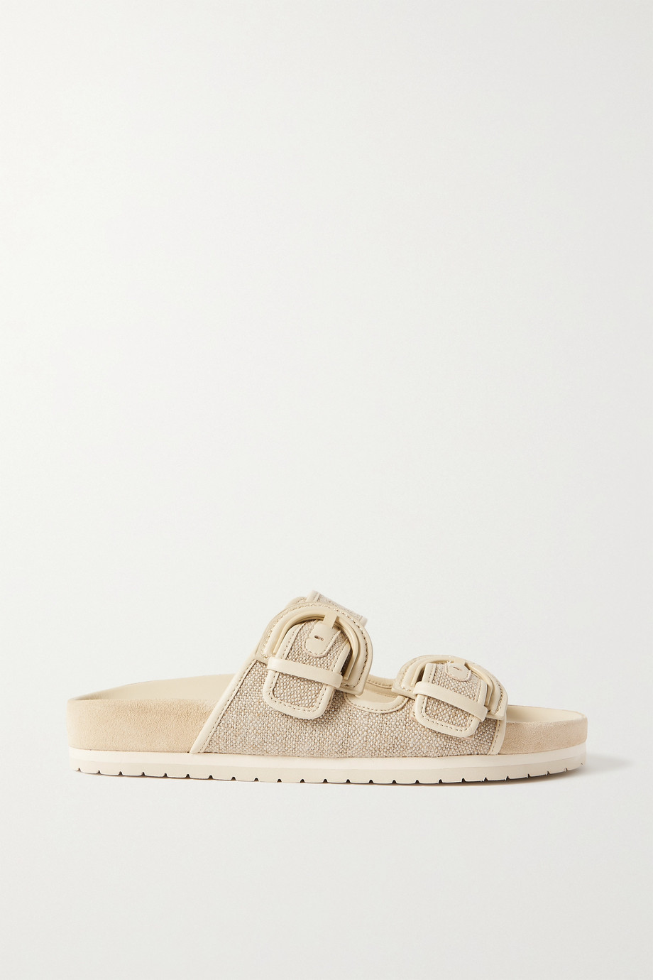 VINCE Glyn leather-trimmed linen slides