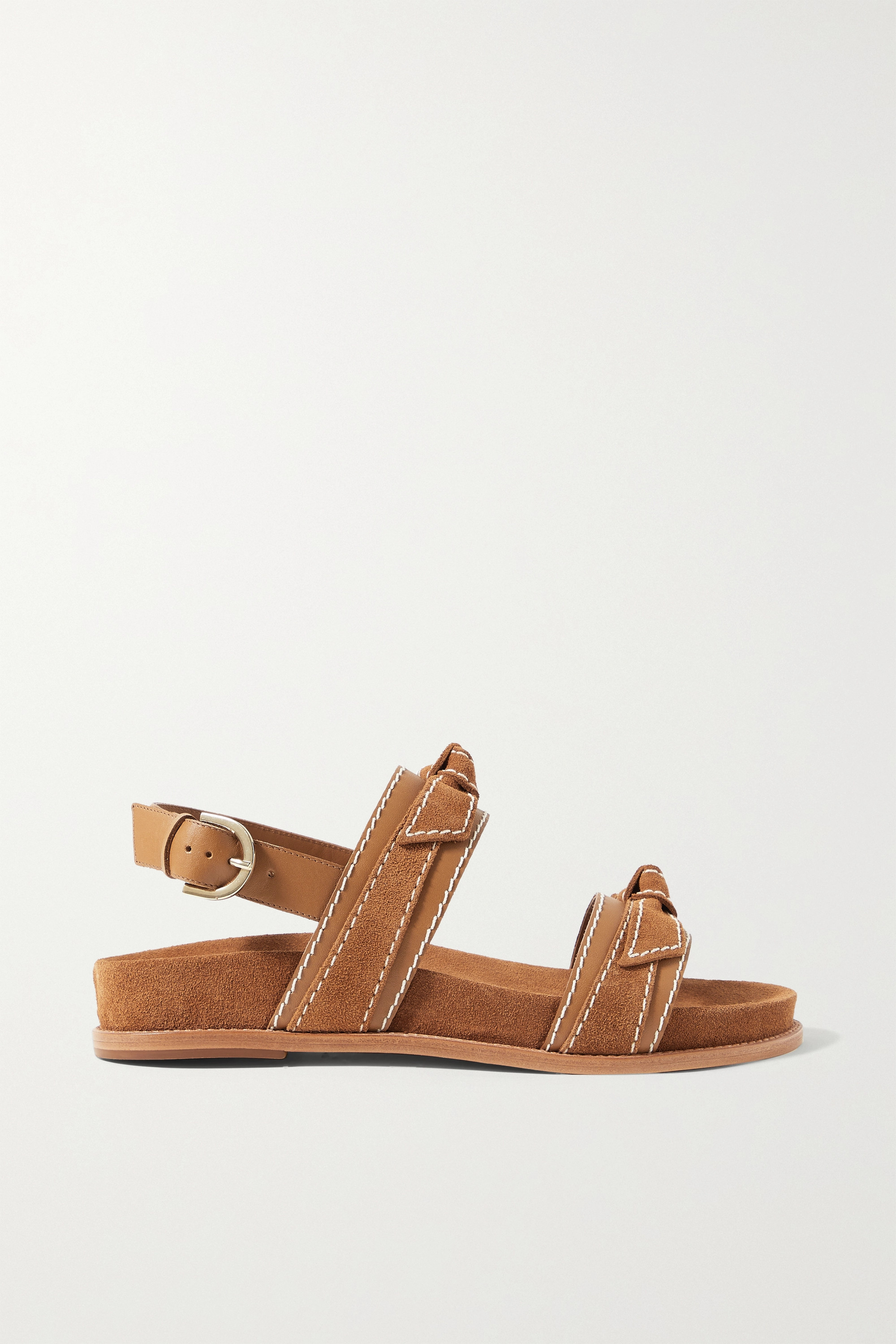 ALEXANDRE BIRMAN Clarita Sport bow-embellished suede and leather sandals
