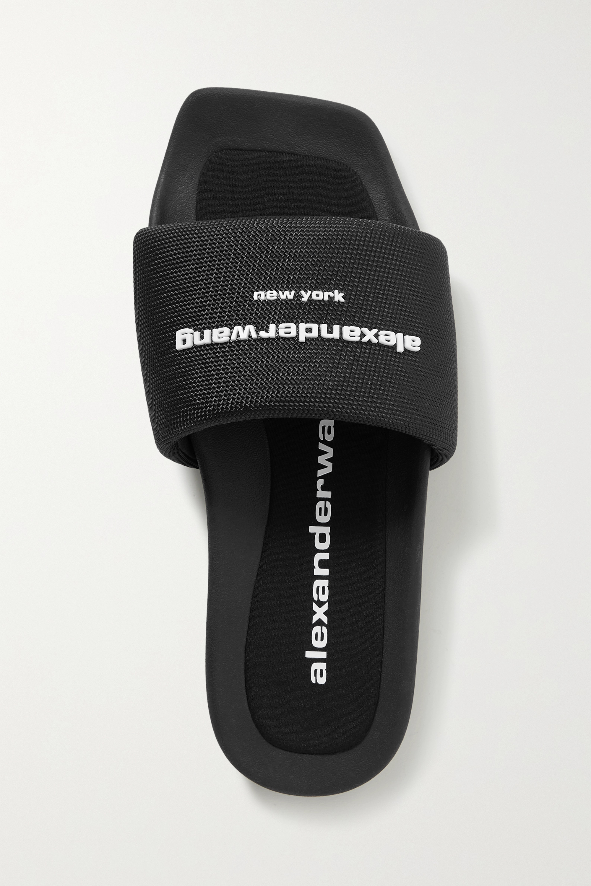 ALEXANDER WANG Logo-appliquéd canvas slides