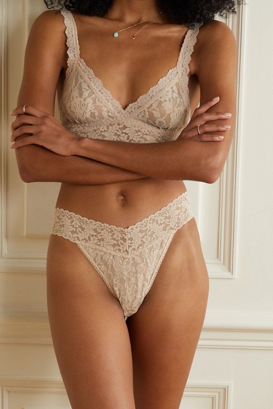 HANKY PANKY + Stoney Clover Lane + NET SUSTAIN Signature set of 12 stretch-lace thongs