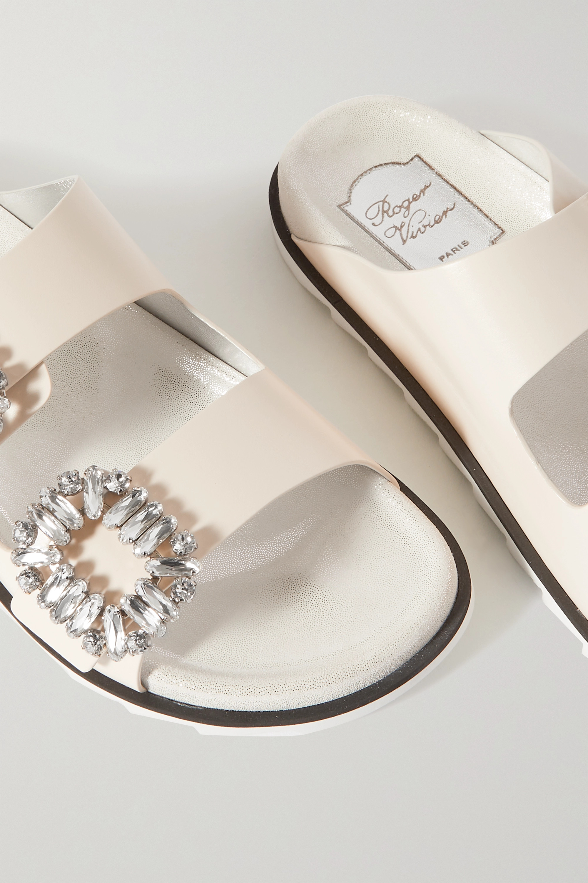 ROGER VIVIER Slidy Viv Swarovski crystal-embellished leather slides