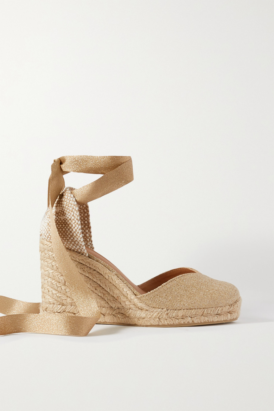 CASTAÑER Chiara 80 metallic canvas wedge espadrilles