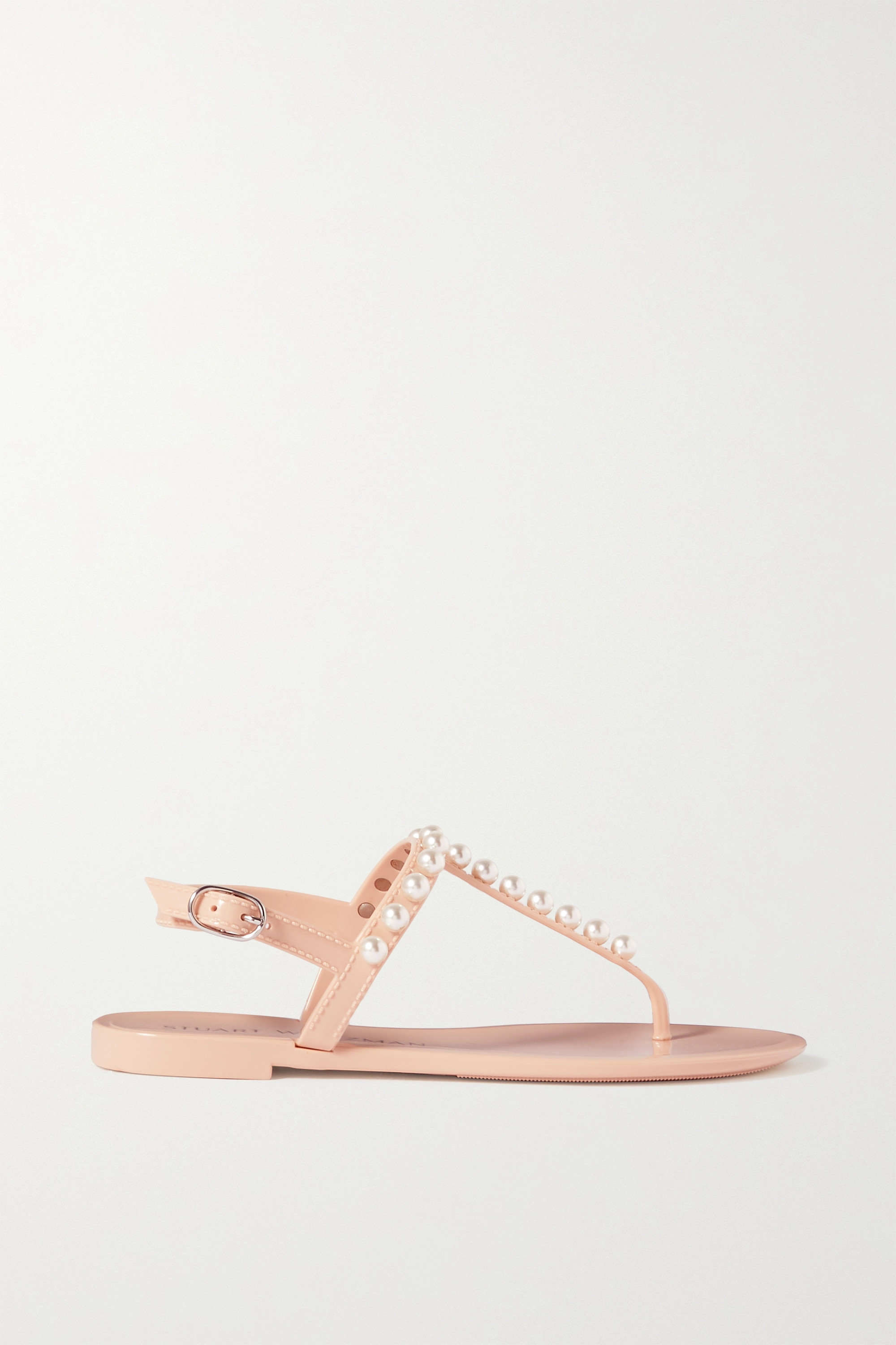 STUART WEITZMAN Goldie faux pearl-embellished rubber slingback sandals
