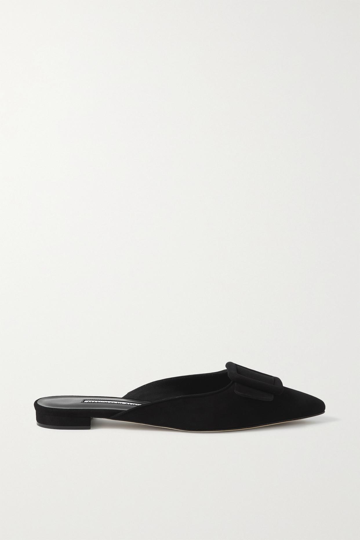 MANOLO BLAHNIK - Maysale 搭扣绒面革尖头平底鞋 - 黑色 - IT38