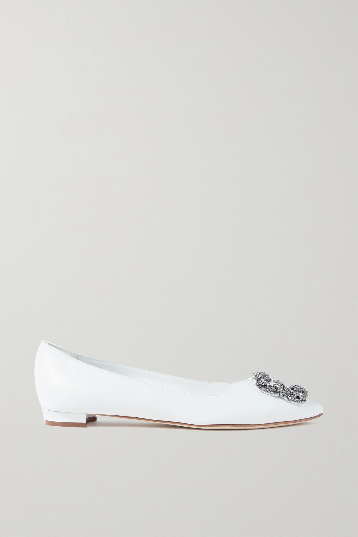 MANOLO BLAHNIK - Hangisi Embellished Leather Point-toe Flats - White - IT36
