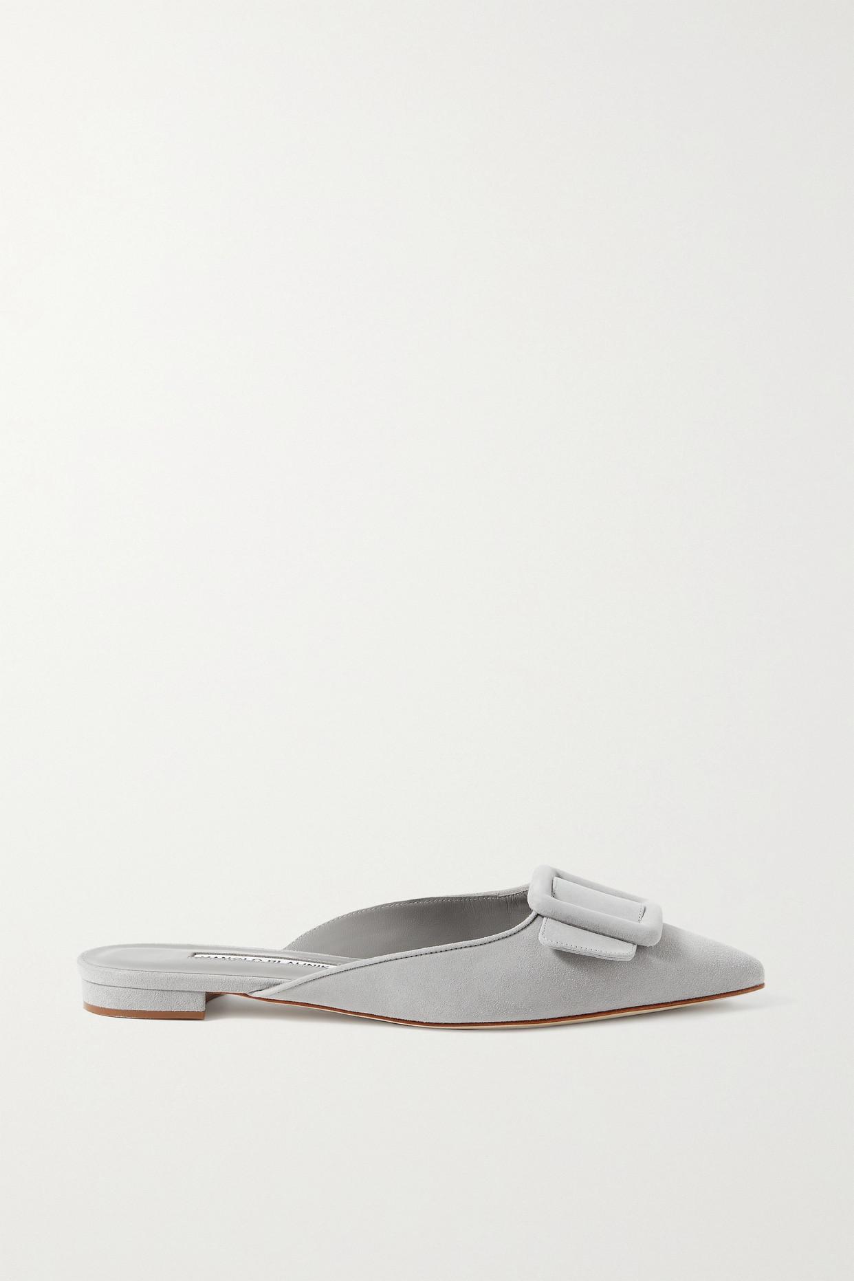 MANOLO BLAHNIK - Maysale 搭扣绒面革尖头平底鞋 - 灰色 - IT37.5