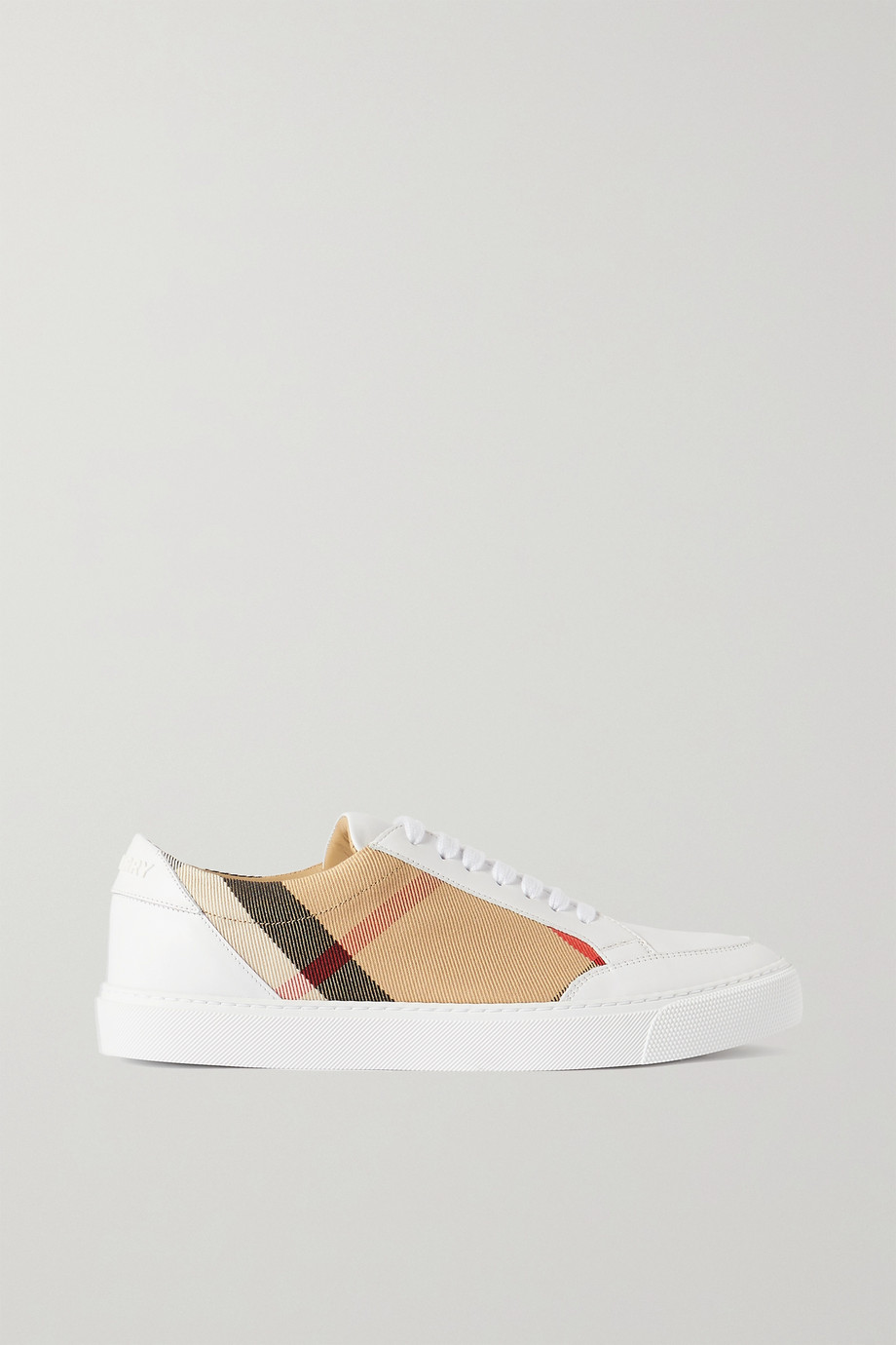 BURBERRY Checked canvas and leather sneakers
