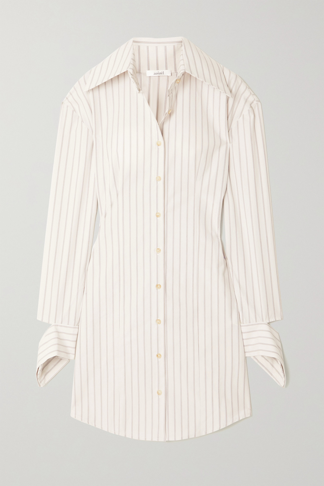 AAIZÉL - + Net Sustain Striped Cotton-poplin Shirt Dress - Ivory - UK6