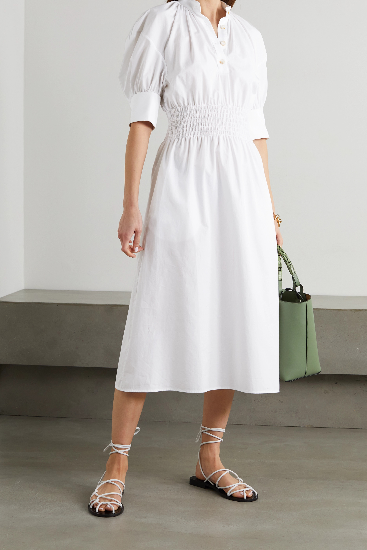Aurora shirred cotton-poplin midi shirt dress