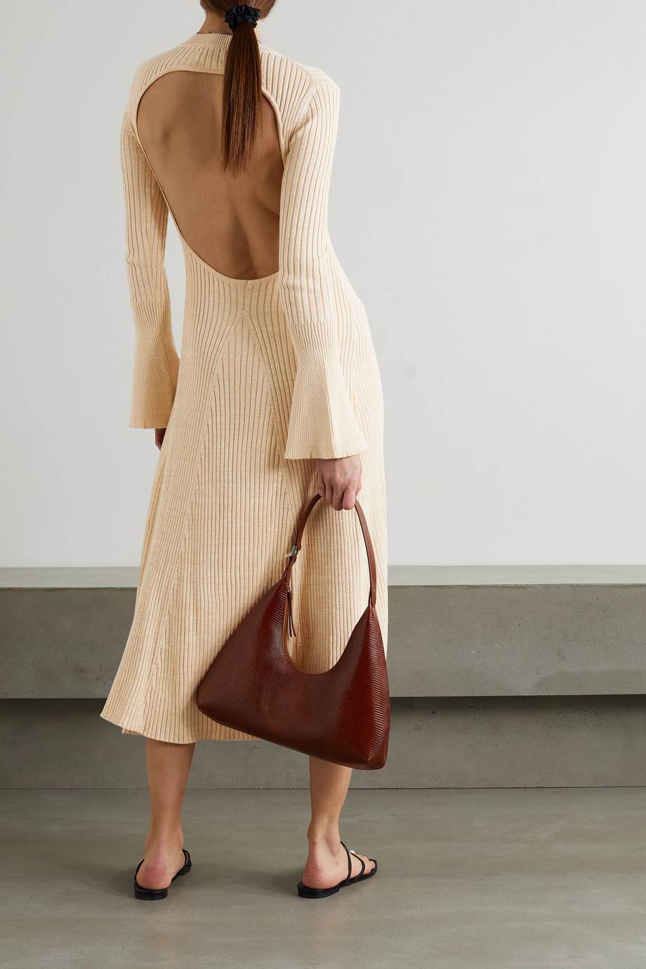 ANNA QUAN Isla backless ribbed cotton midi dress