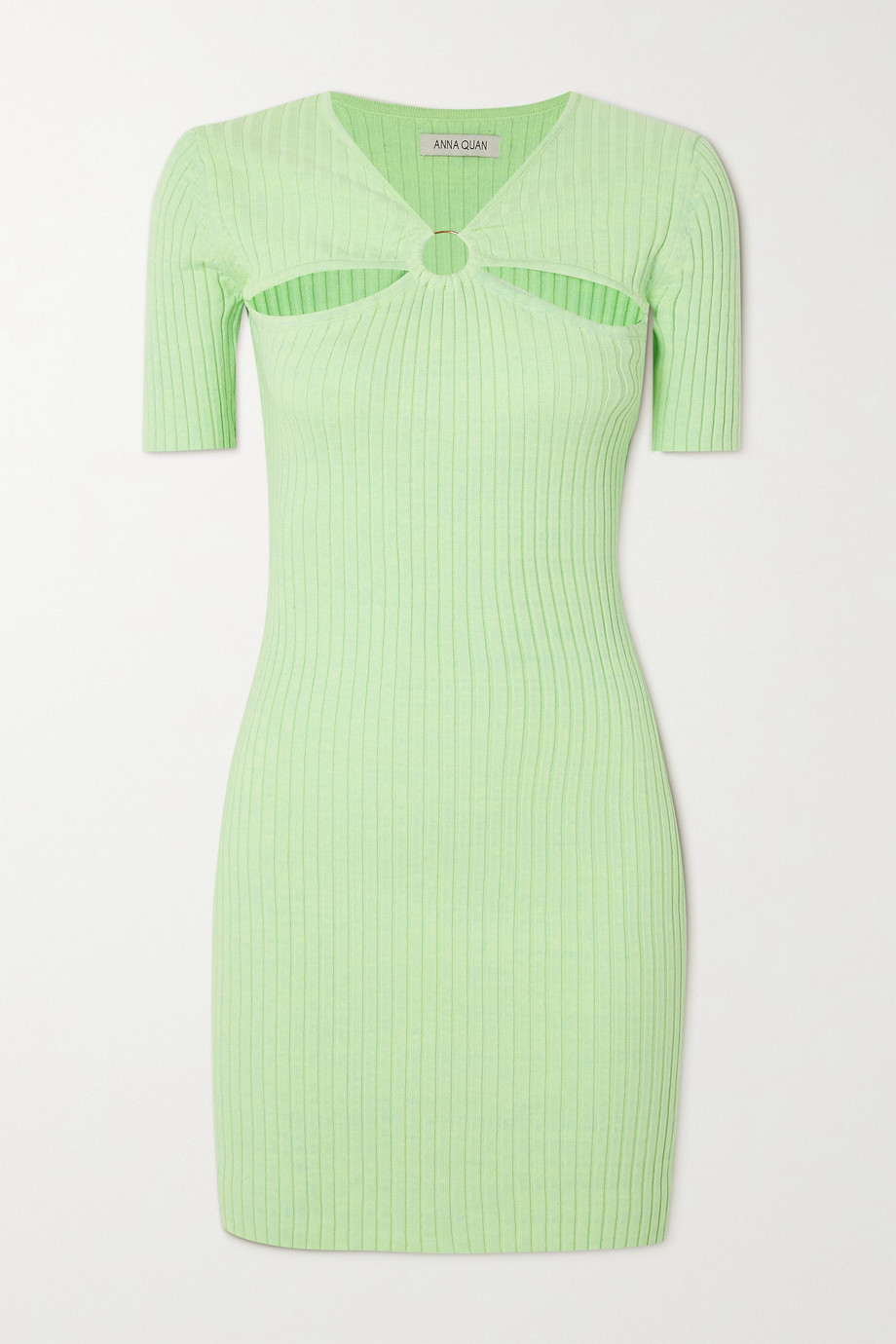 ANNA QUAN Sierra cutout embellished ribbed cotton mini dress