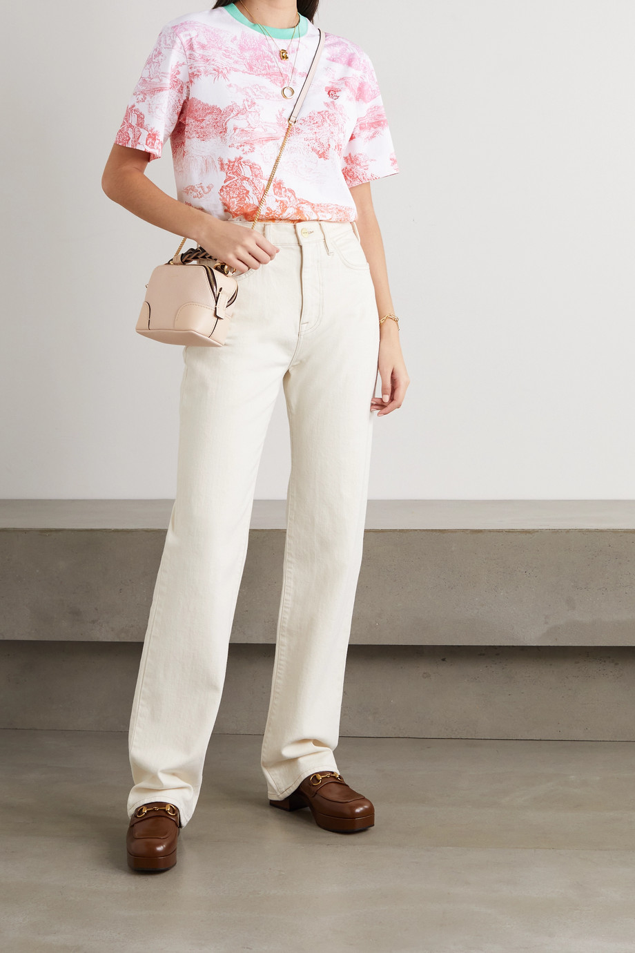 CHLOÉ Embroidered printed cotton-jersey T-shirt