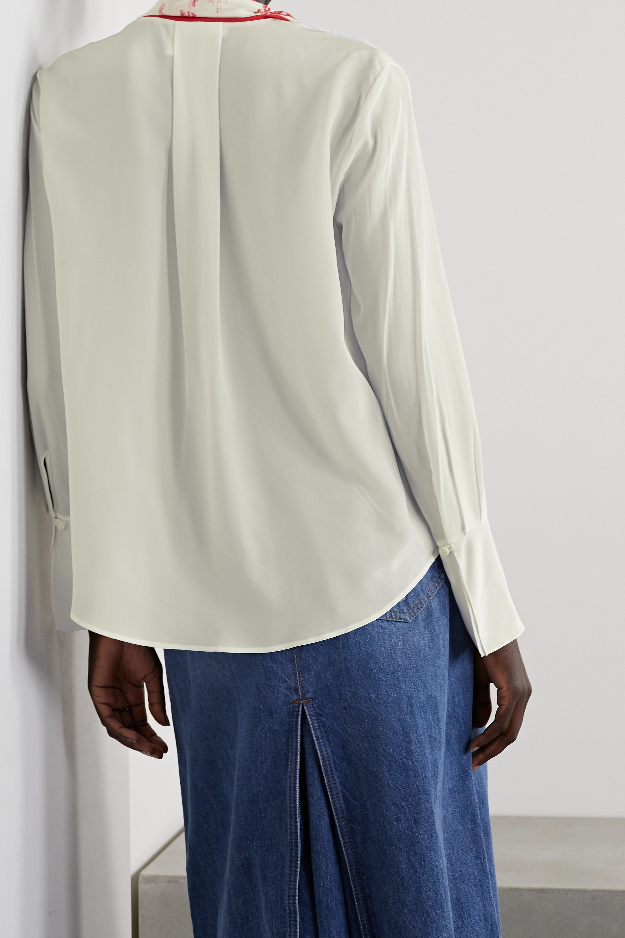 CHLOÉ Printed tie-neck silk crepe de chine blouse