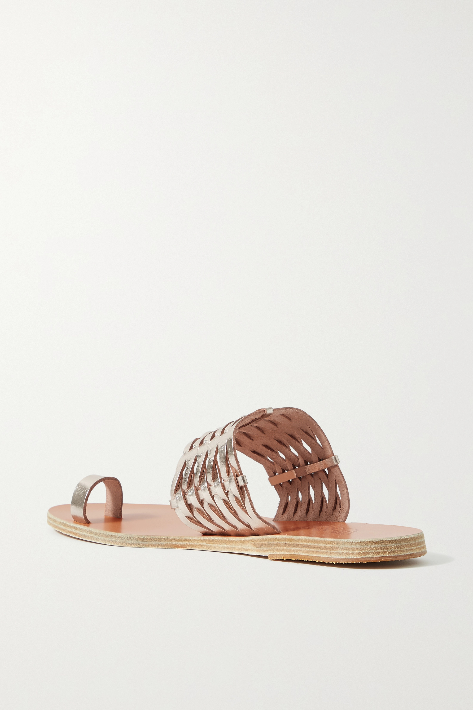 ANCIENT GREEK SANDALS Thalia woven metallic leather sandals