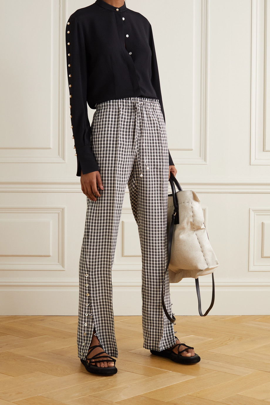 ALTUZARRA Catkin faux pearl-embellished checked woven pants