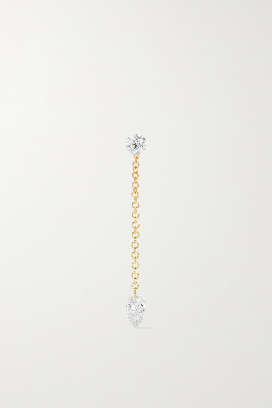 MARIA TASH 20mm Pendulum and 3mm Invisible 18-karat gold diamond earring