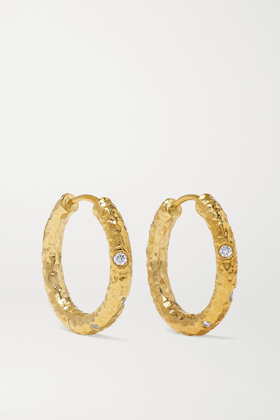 OCTAVIA ELIZABETH + NET SUSTAIN Nesting Gem Gabby 18-karat recycled gold diamond hoop earrings