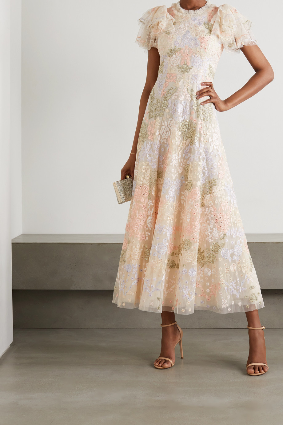 NEEDLE & THREAD Elin Blossom sequin-embellished embroidered tulle midi dress
