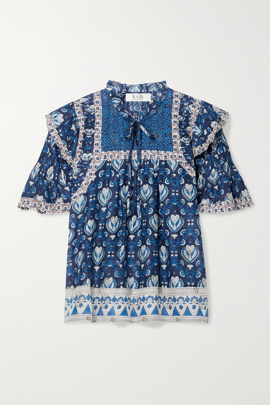 SEA Brigitte ruffled printed cotton-voile blouse