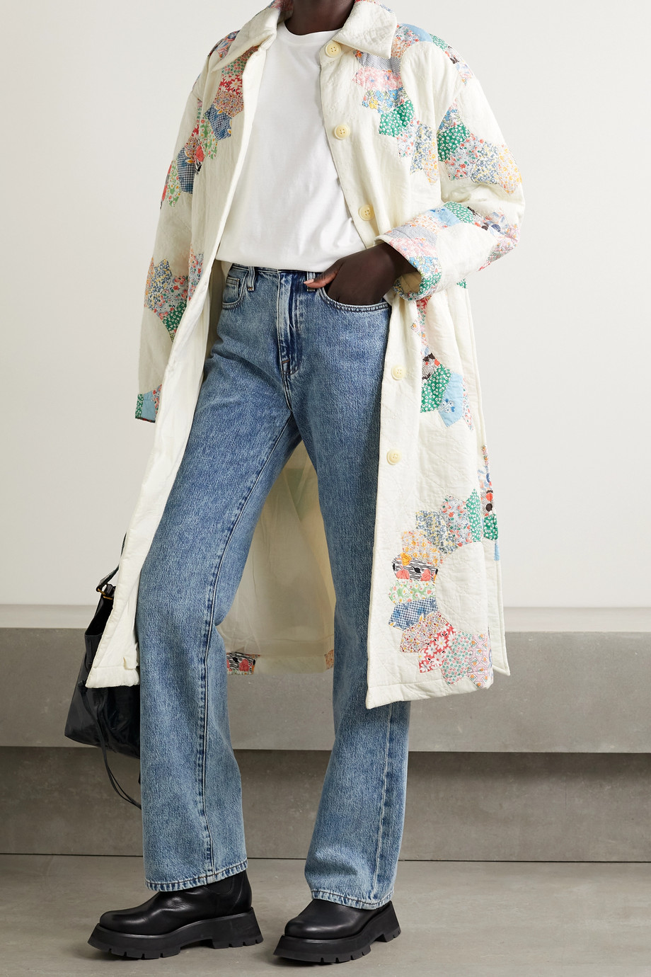 SEA Linden belted quilted patchwork cotton coat