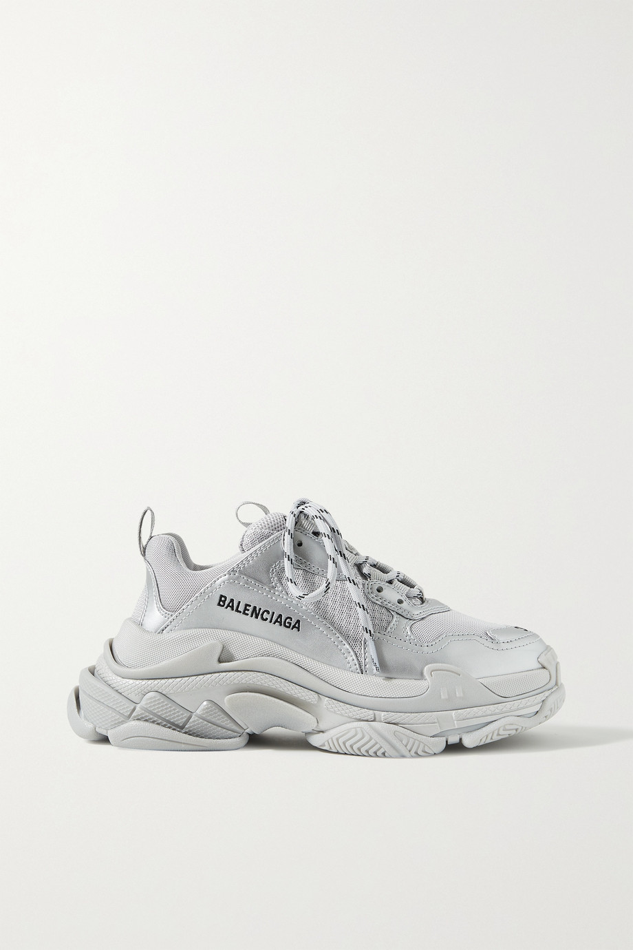 BALENCIAGA Triple S logo-embroidered metallic leather and mesh sneakers