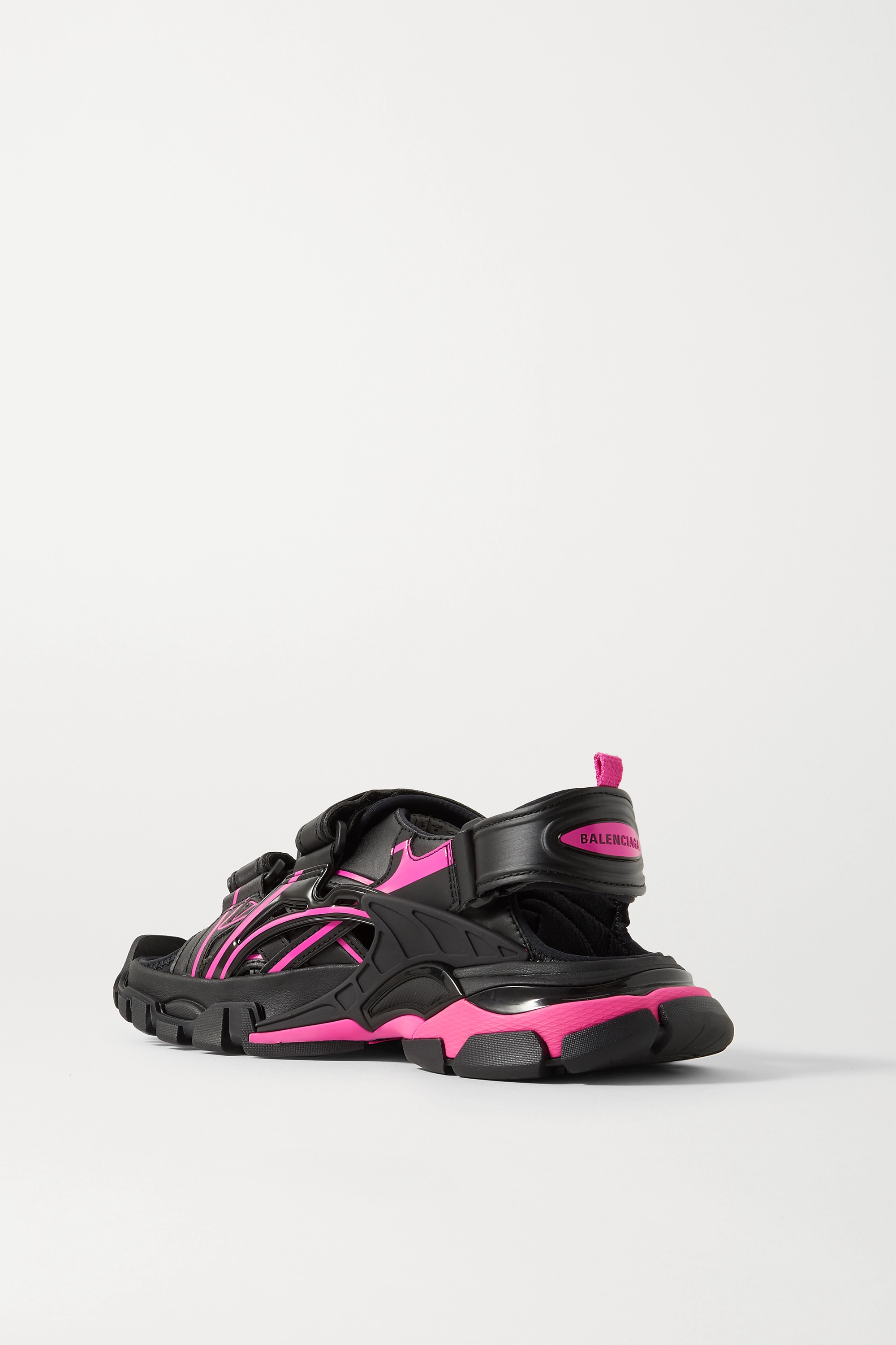 BALENCIAGA Track logo-detailed leather and rubber sandals