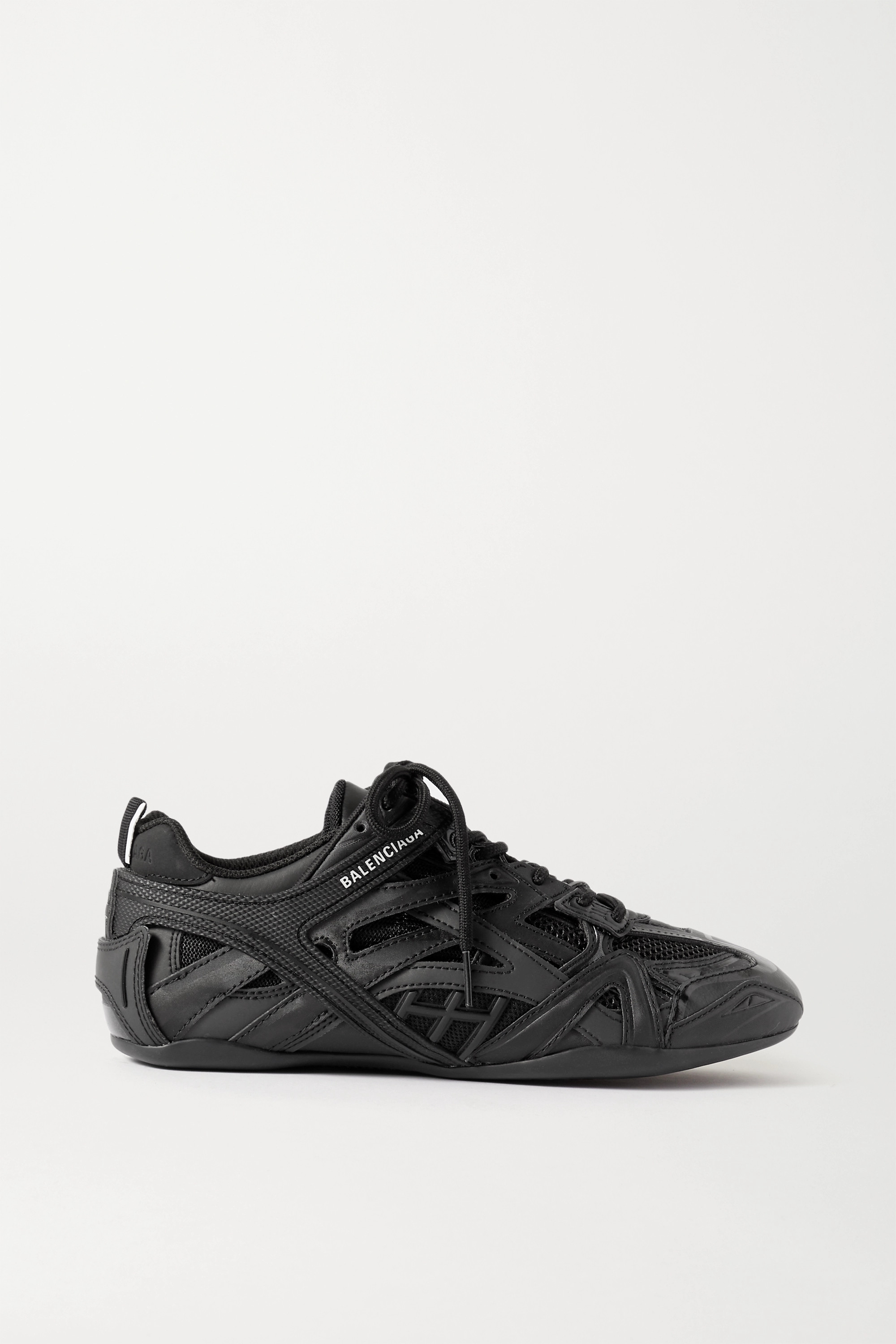 BALENCIAGA Drive logo-print leather, rubber, mesh and suede sneakers