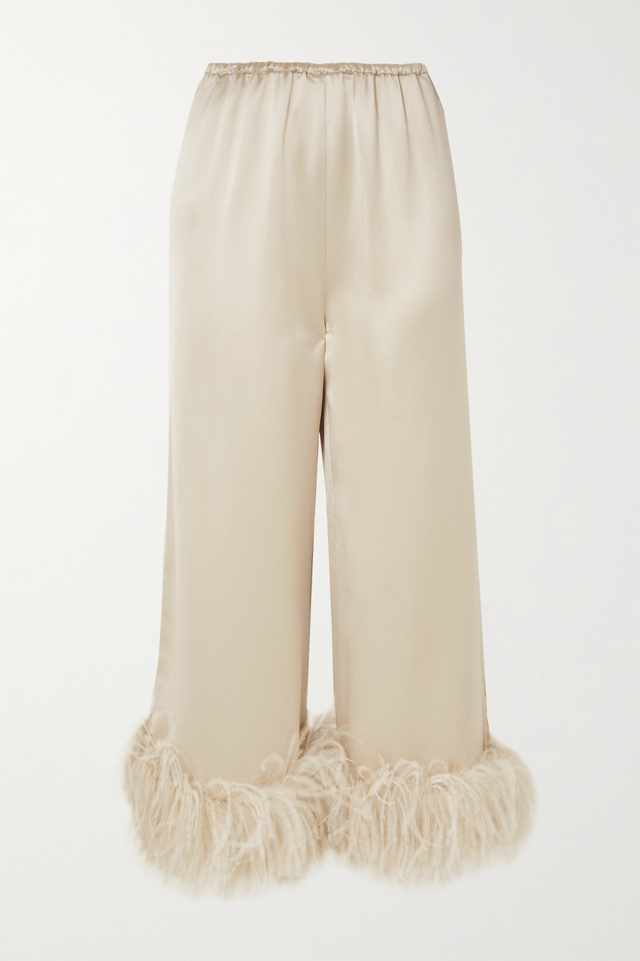 16ARLINGTON Mandrake feather-trimmed satin wide-leg pants