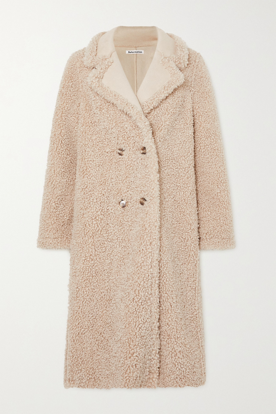 REFORMATION Trolley double-breasted faux shearling coat