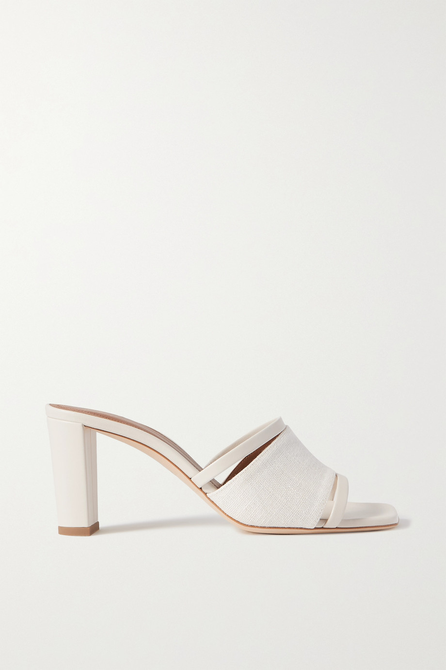 MALONE SOULIERS Demi 70 leather-trimmed cutout linen mules