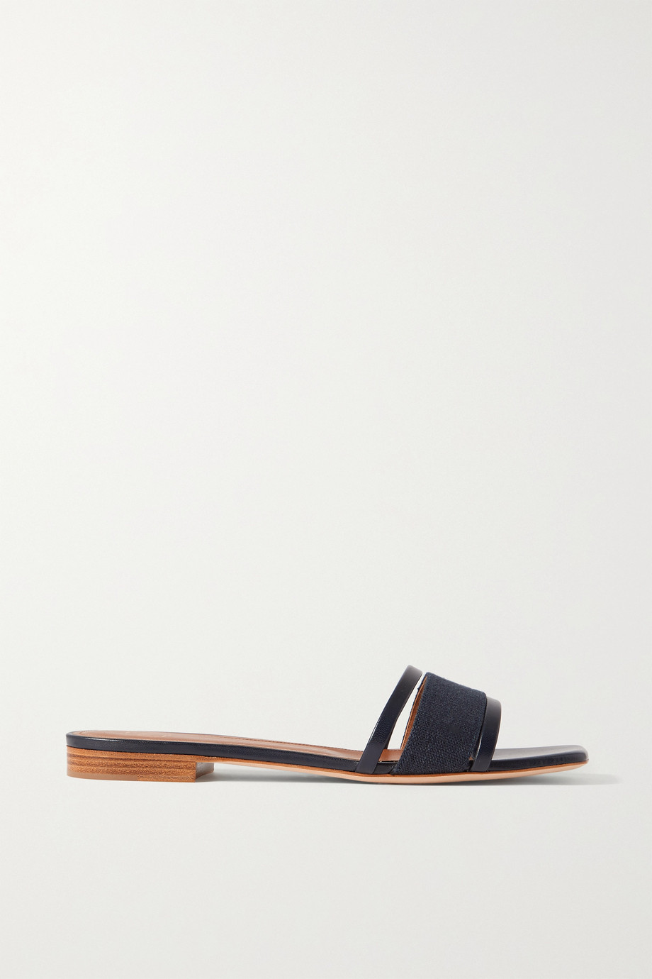 MALONE SOULIERS Demi 20 cutout leather-trimmed linen slides