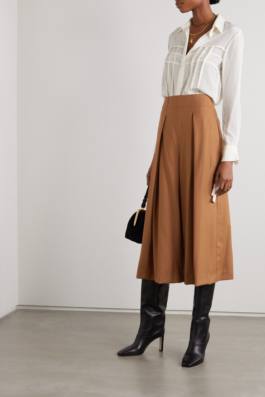 YOOX NET-A-PORTER FOR THE PRINCE'S FOUNDATION Pleated merino wool culottes