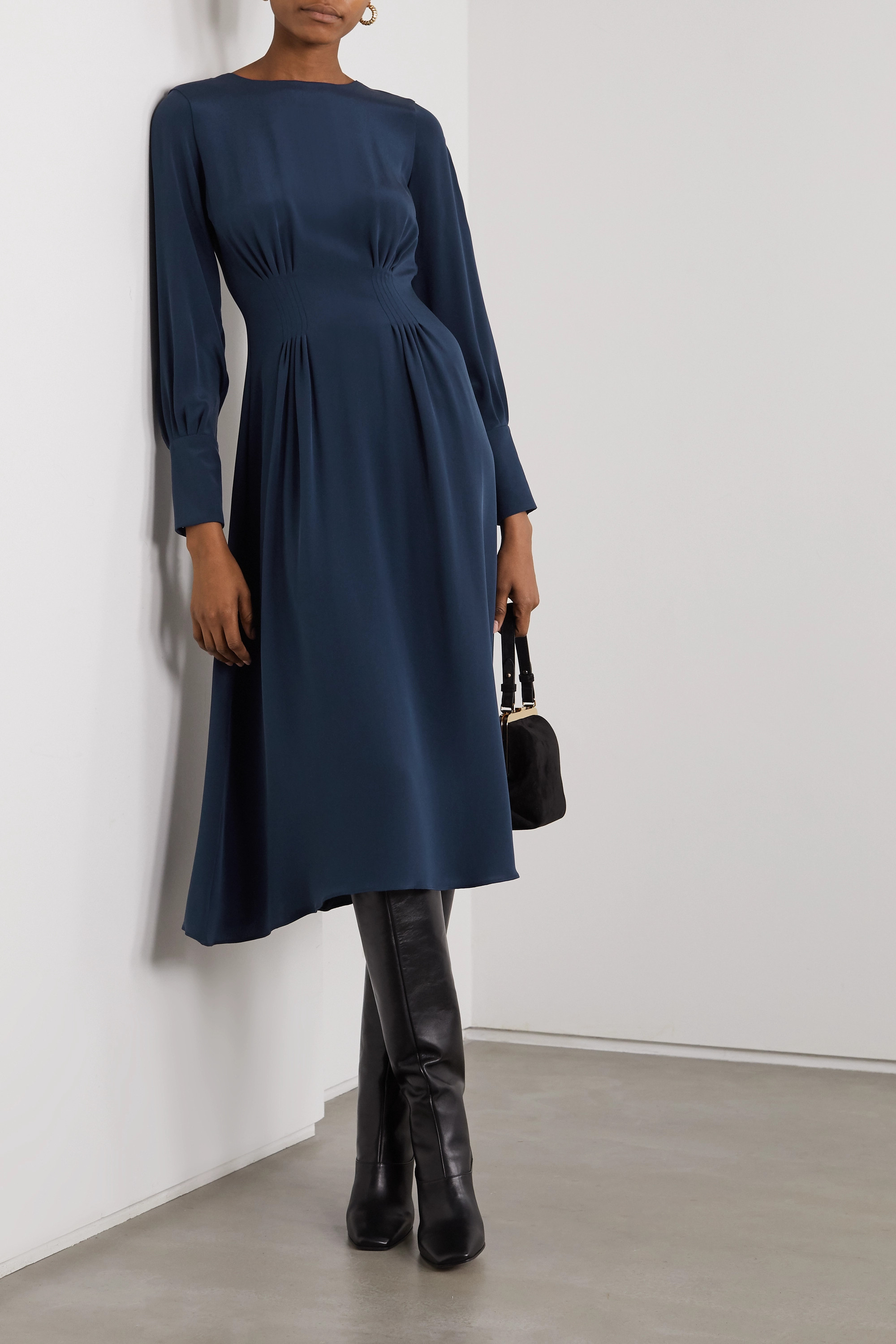YOOX NET-A-PORTER FOR THE PRINCE'S FOUNDATION Pleated organic silk midi dress