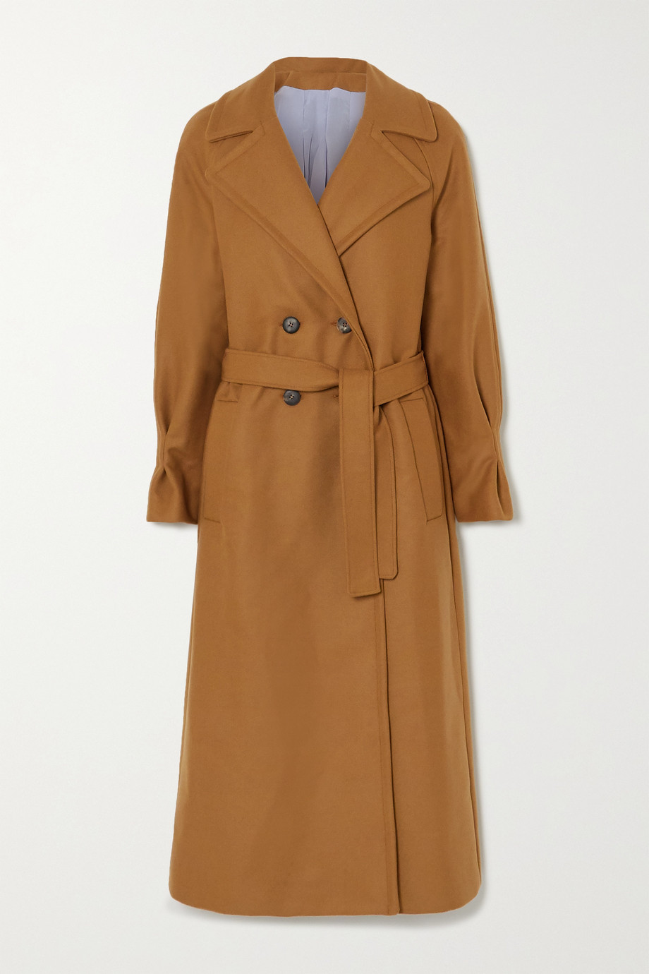 YOOX NET-A-PORTER FOR THE PRINCE'S FOUNDATION Belted double-breasted merino wool and cashmere-blend coat