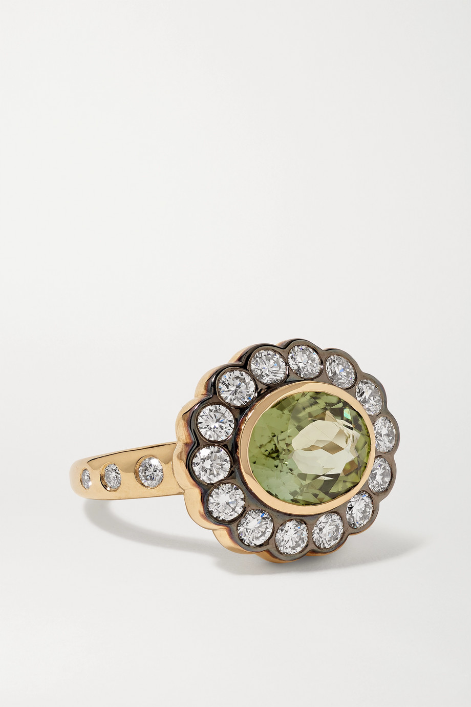 MARLO LAZ Alexandra 14-karat gold, tourmaline and diamond ring