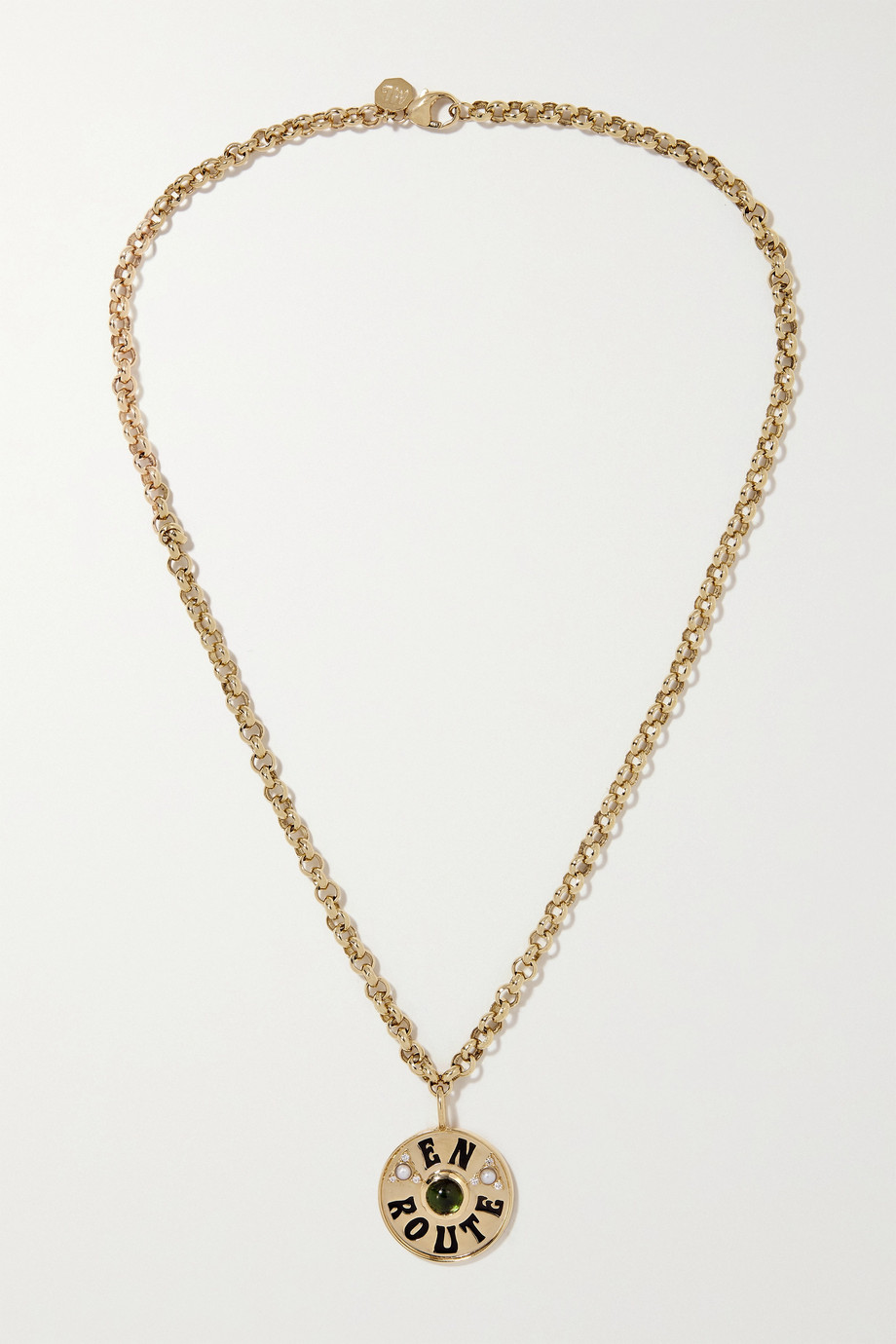 MARLO LAZ En Route 14-karat gold, enamel and multi-stone necklace