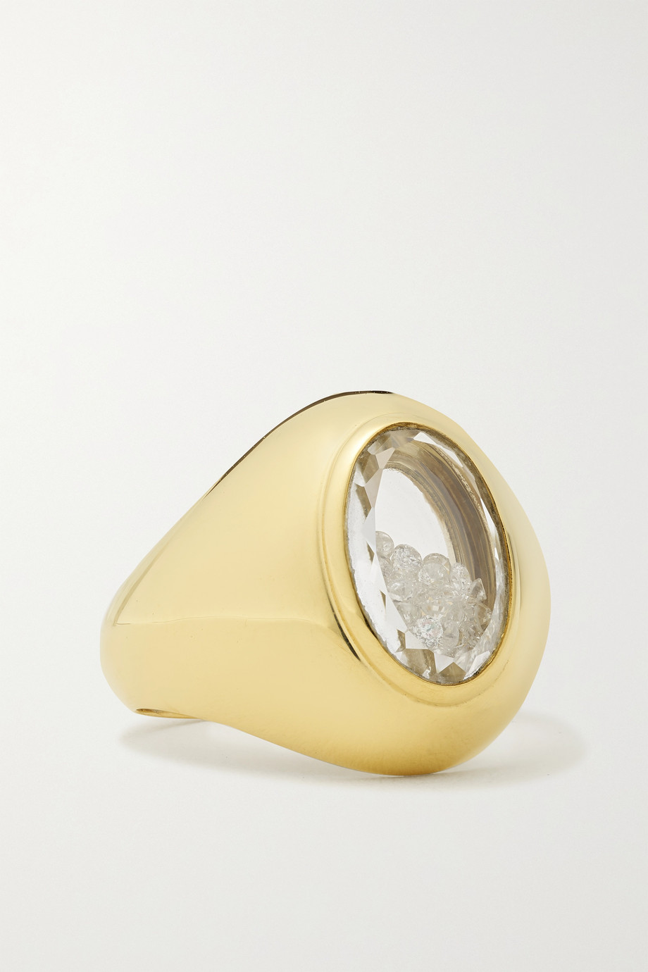 MORITZ GLIK Dedinho 18-karat gold, sapphire crystal and diamond signet ring