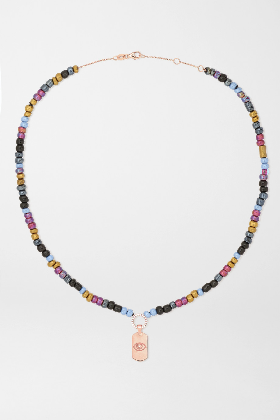 DIANE KORDAS Evil Eye 14-karat rose gold, bead and diamond necklace