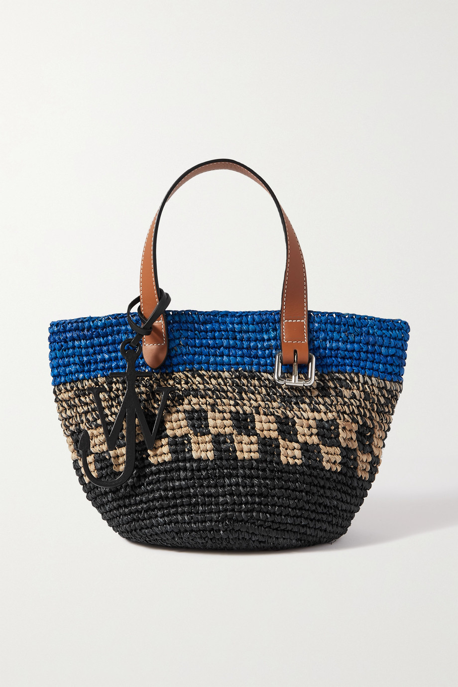 JW앤더슨 JW Anderson Mini leather-trimmed raffia tote,Blue