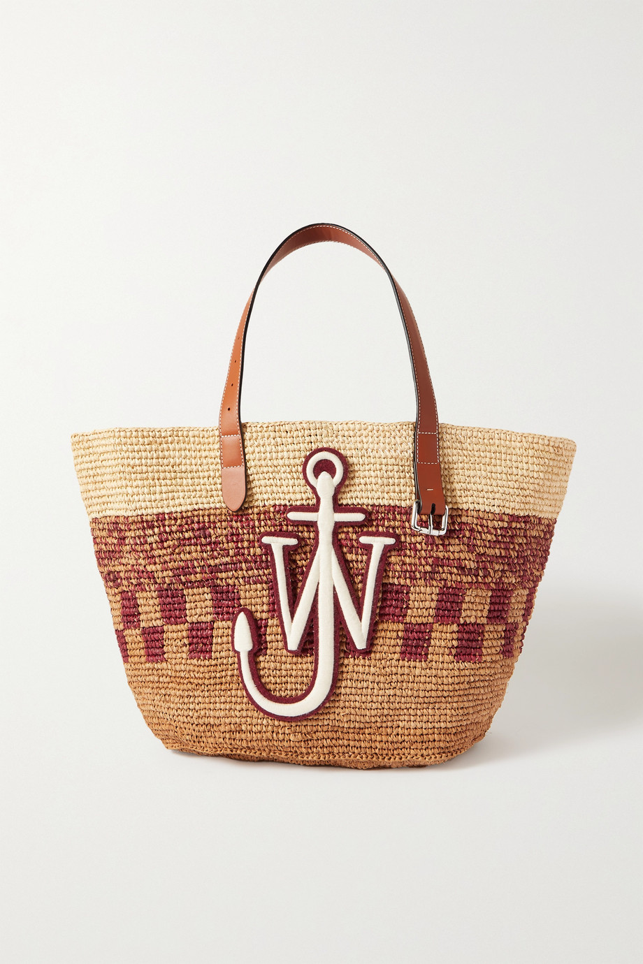 JW앤더슨 JW Anderson Appliqued leather-trimmed woven raffia tote,Red