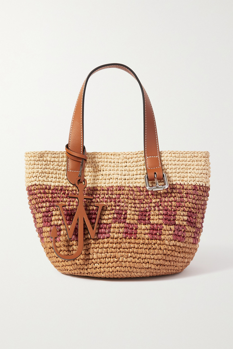 JW앤더슨 JW Anderson Mini leather-trimmed woven raffia tote,Red