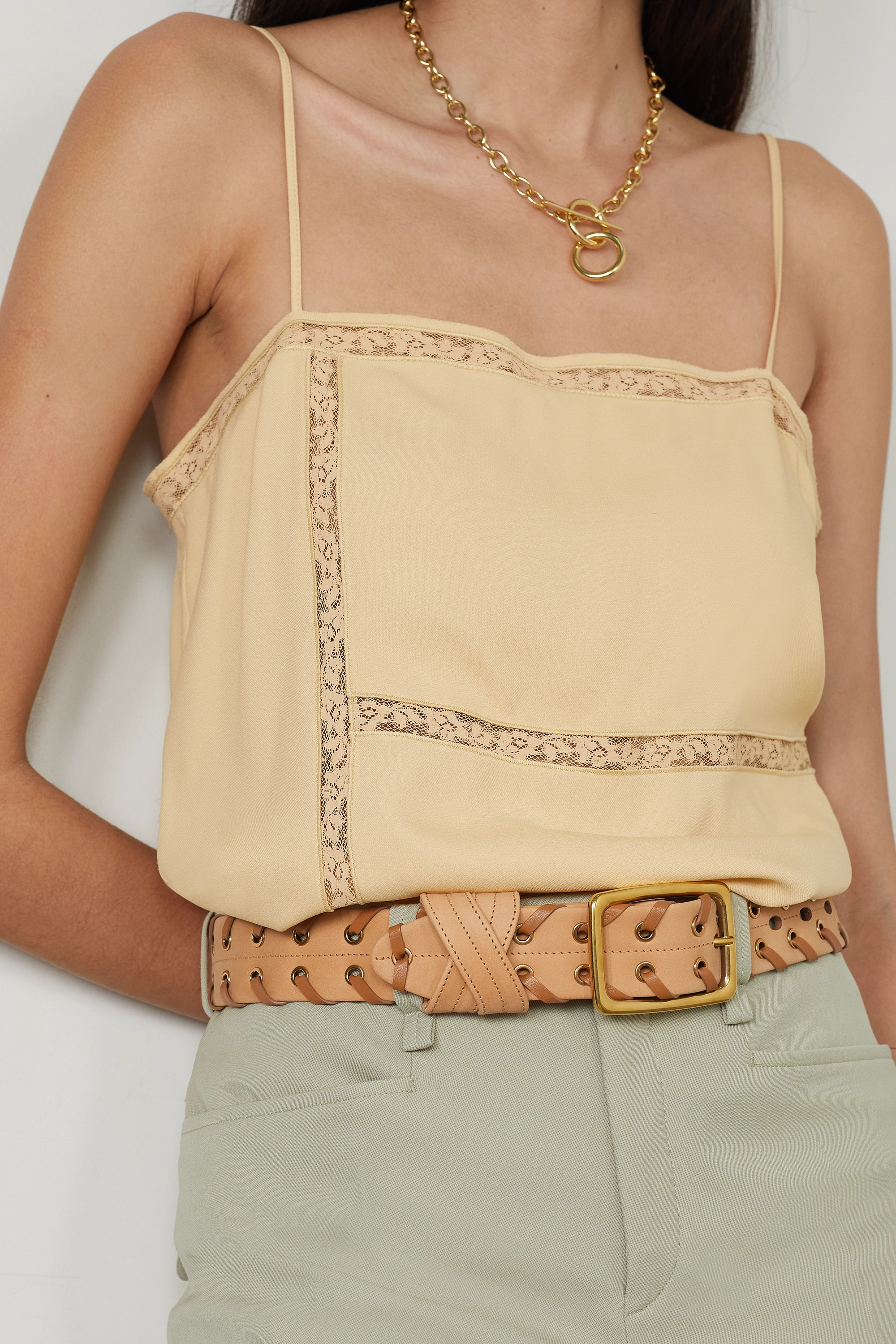 CHLOÉ Embellished two-tone leather belt