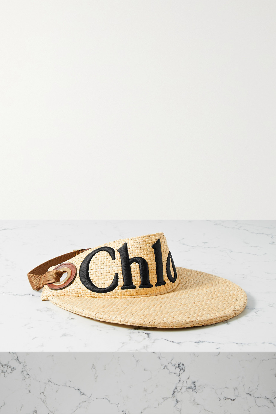 CHLOÉ Woody leather-trimmed embroidered raffia visor
