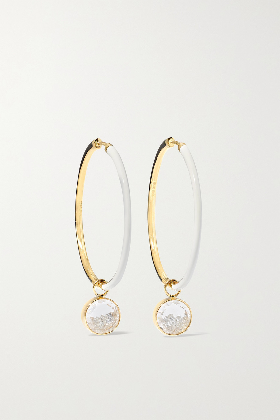 MORITZ GLIK 18-karat gold, enamel, sapphire crystal and diamond hoop earrings