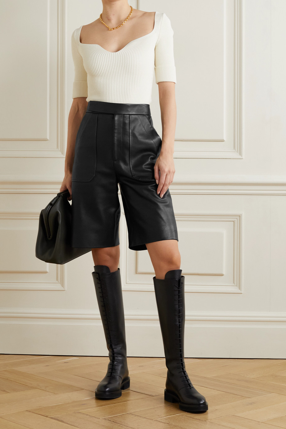 KHAITE Theresa leather shorts