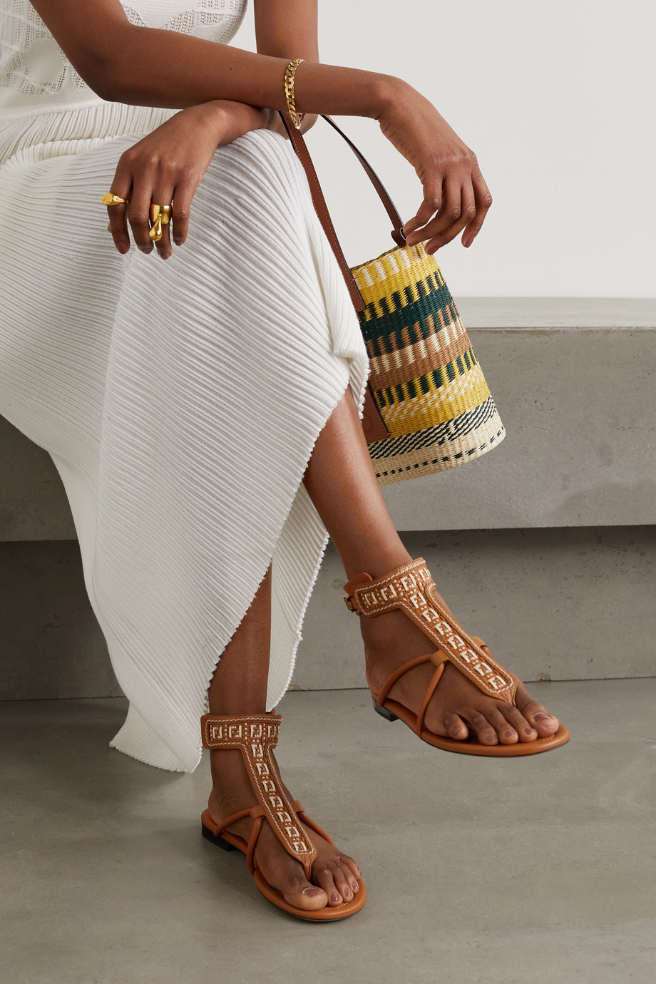 FENDI Woven leather sandals
